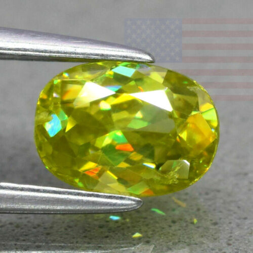 1.13CT SPHENE CLEAN BRIGHT COLORS DISPERSION OVAL LOOSE GEMSTONE (MADAGASCAR)