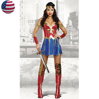 Adult Superwoman Superhero Wonder Woman Costume Halloween Party Fancy Dress  - Adult Wonder Woman Halloween Costume