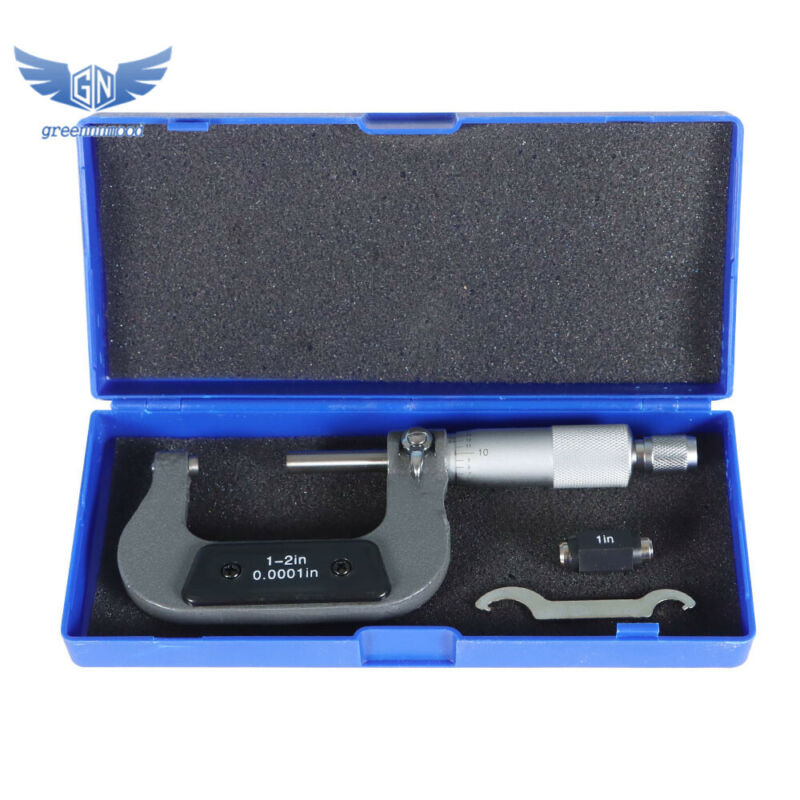 """New 1-2"""" Precision Outside Micrometer 0.0001"""" Carbide Tipped"""