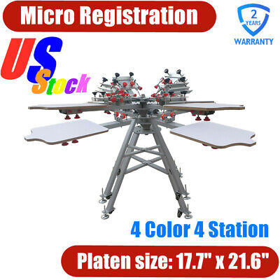 Us Stock Micro Registration 4 Color 4 Station Silk Screen Printing Press Machine