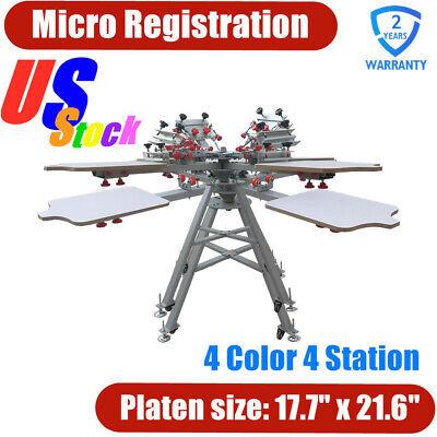Pick-up Micro Registration 4 Color 4 Station Silk Screen Printing Press Machine