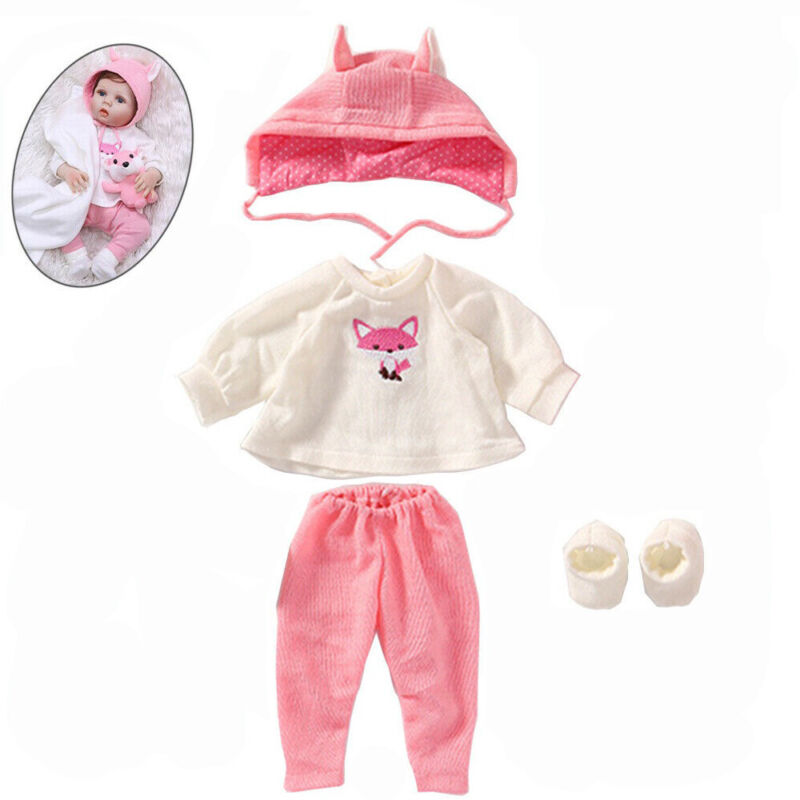 "7-sets Pink Fox Reborn Newborn Baby Clothes Set for 22"" Doll Girl Outfits"