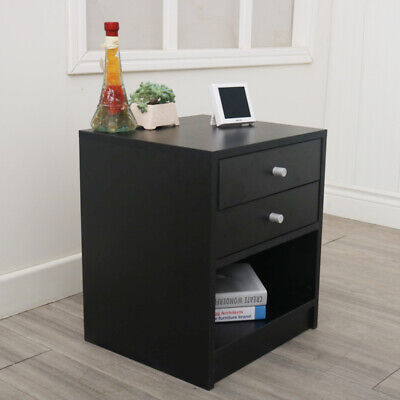Round Handle Night Stand with 2 Drawers Concise Elegent Black 40 x 36 x 47cm (2 Drawer Round Nightstand)