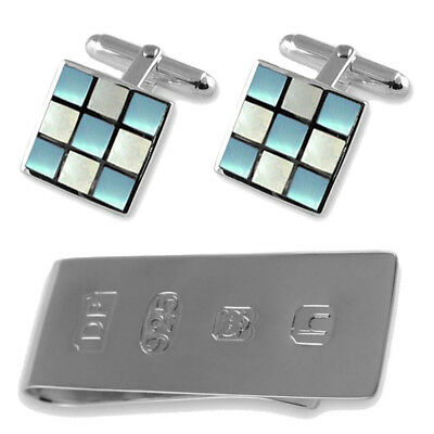925 Silver Blue & White Mother Of Pearl Cufflinks James Bond Money Clip Box (Mother Of Pearl White Money Clip)