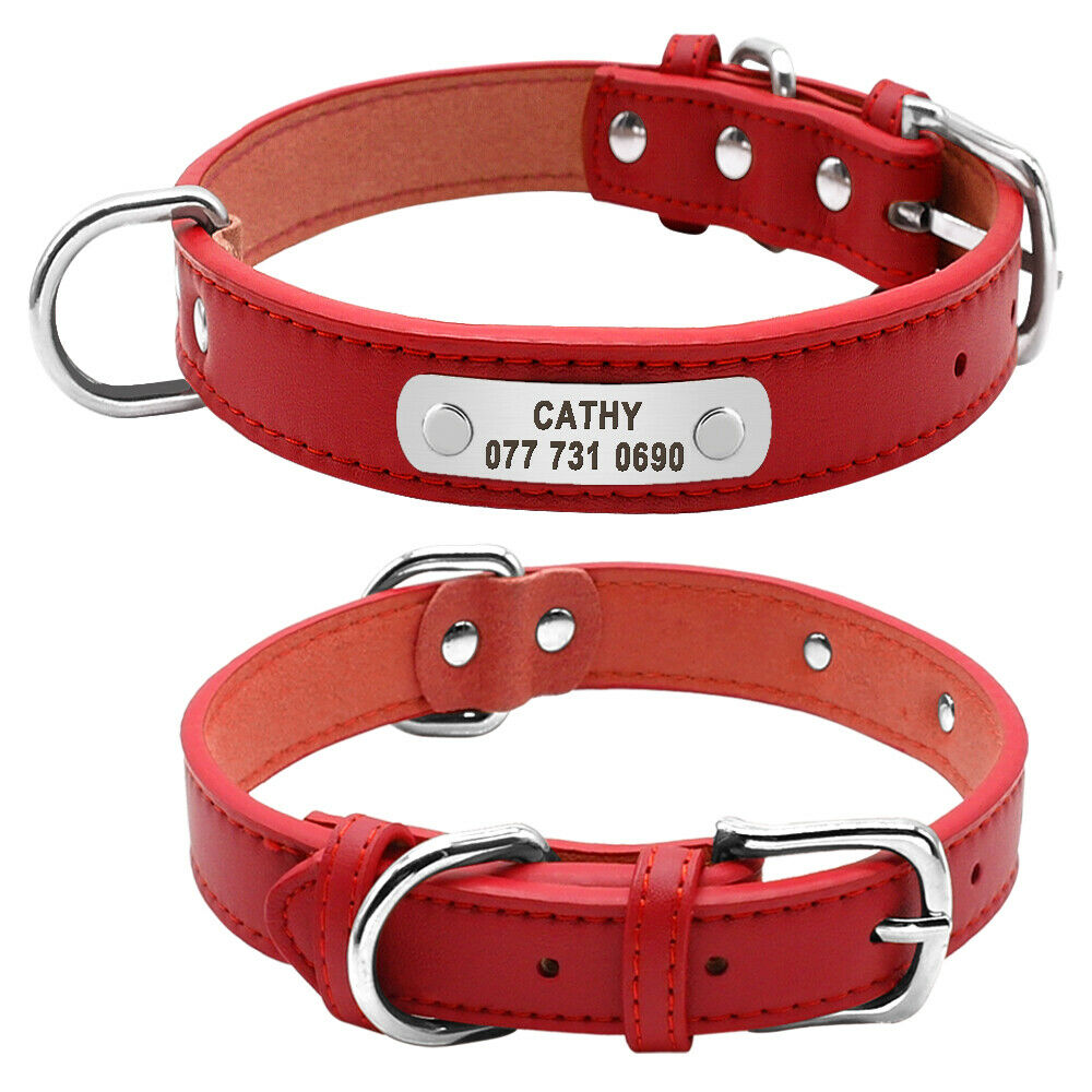Personalized Dog Collars Leather Pet Id Collar Name