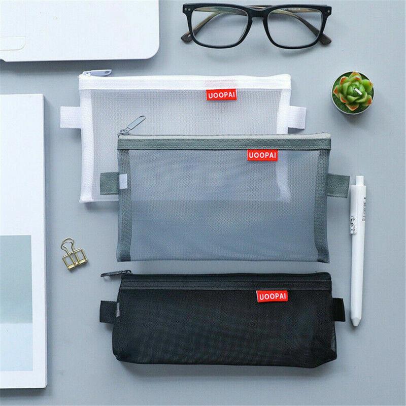 Portable Transparent Clear Student Pen Pencil Case Zip Mesh