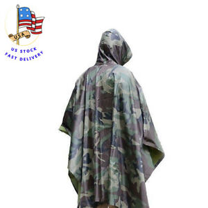 Military Woodland Camo Poncho Waterproof Army Hiking Poncho Ripstop Wet Weather