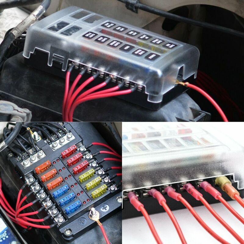 12Way 12/32V Auto Car Power Distribution Blade Fuse Holder Box Block Panel Board