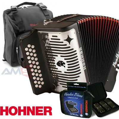 Hohner Panther GCF Sol 31 Button Accordion with Bag, Strap, Hoodoo 3pk Harmonica