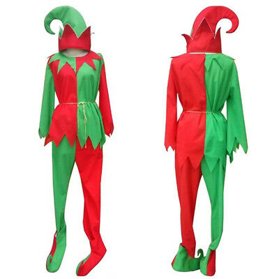 Christmas Xmas Woman Green Red Elf Full Set Costume with Hat and Shoes HC-024](Elf Shoes And Hat)