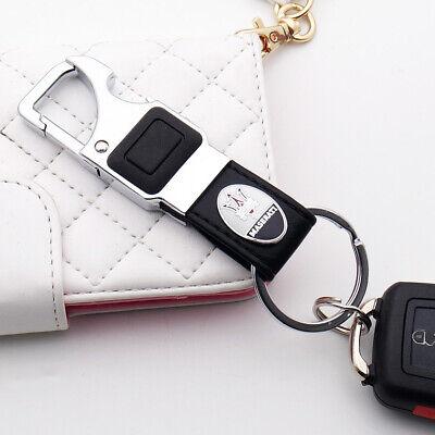 Maserati Alloy Black Leather Keychain Ring LED Flashlight Opener Home Car Gift