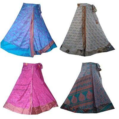Vintage Silk Skirt Indian Women Long Wrap Dress Bohemian Skirt Gypsy Hippie Boho