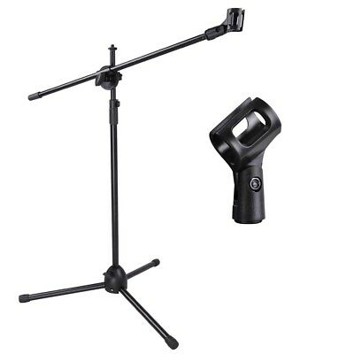 Telescoping Microphone Stand Mic Clip 90-degree Stage Studio Holder Tripod