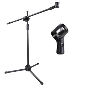 Telescoping Microphone Stand Mic Clip 360-degree Stage Studio Holder Tripod