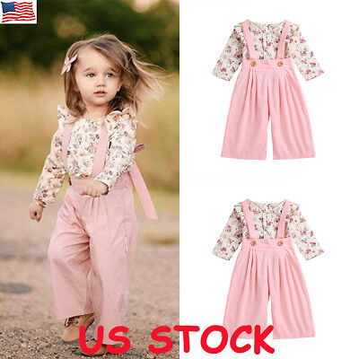US Toddler Kids Baby Girl Autumn Outfit Clothes T-shirt Tops+Long Pants 2PCS Set (Toddler Girl Spring Clothes)