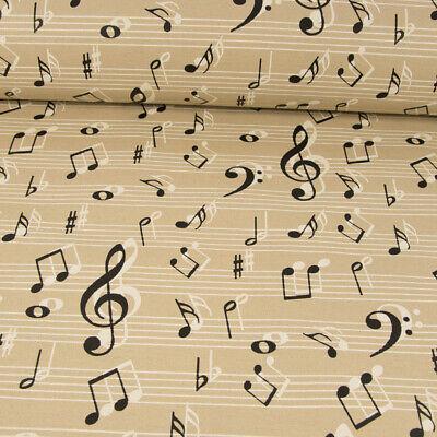 Beschichteter Baumwollstoff Musiknoten beige