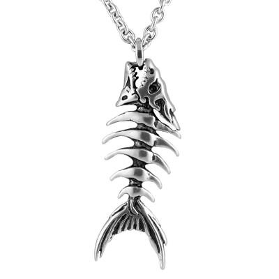 Fish Bones Necklace Skeleton Pendant Stainless Steel Jewelry By Controse