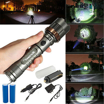 New 5000Lumen T6 LED Flashlight Zoomable Torch Lamp + 2x18650 Battery + Charger