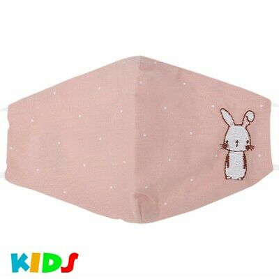 Kinder Stoffmaske Mundschutz Maske Hase Kaninchen Comic Altrosa Junge Mädchen