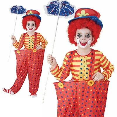 Child Hoop Clown Costume Boys Circus Funny Book Week Day Fancy Dress Outfit New