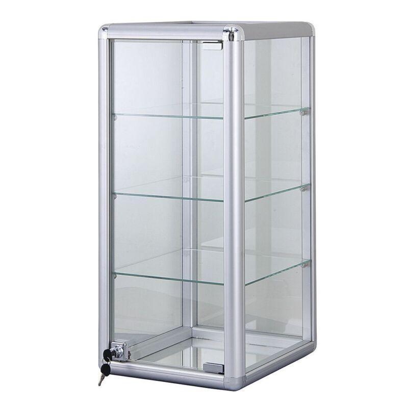 3 Shelf Aluminum Frame Glass Countertop Showcase, 87217