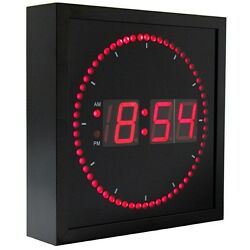 Digital Wall Clock LED Light Large 10 Inch Square Second Indicator Modern Red