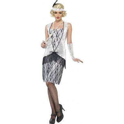Ladies 20s Flapper Costume Fancy Dress 1920's Retro Dancer New York Hoe Womens