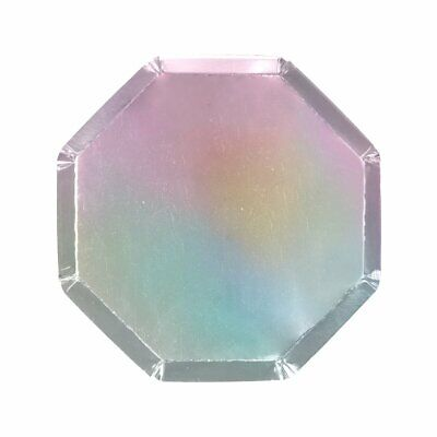 8 Plateado Brillante Holográfico Papel Plato Pequeño 20cm Metalizado Baño de