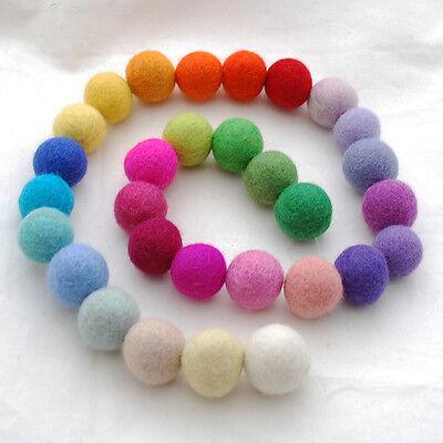 100% Wool Felt Balls - 2.5cm - 30 Count - Assorted Light Bright / Rainbow Colour