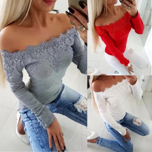 Elegant Damen Spitze Langarm Blusen Schulterfrei Oberteile T-shirt Shirt Hemden