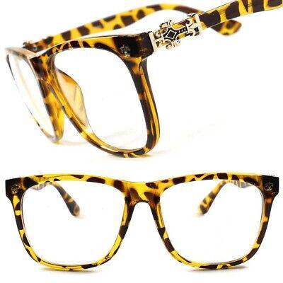 Tortoise Gold Cross Elegant Mens Womens Nerd Geek Fashion Clear Lens Eye (Tortoise Nerd Glasses)