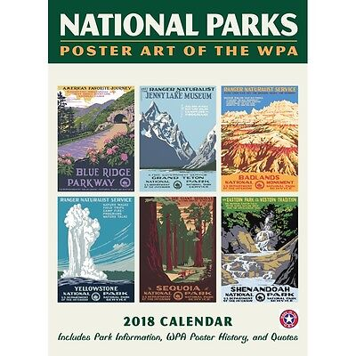 National  Parks Wpa Poster W Grid Wall Calendar