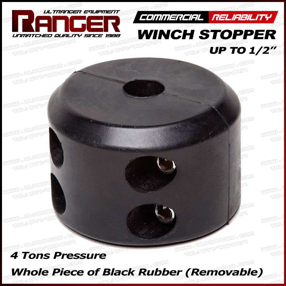 Set of 2 Rubber Winch Cable Hook Stopper Rope Line Saver with Allen Wrench