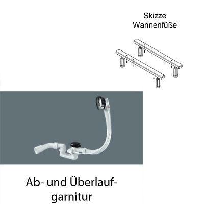 Wannenfüße und Ab-und Überlaufgarnitur Standard für Ottofond-Badewannen Ablauf