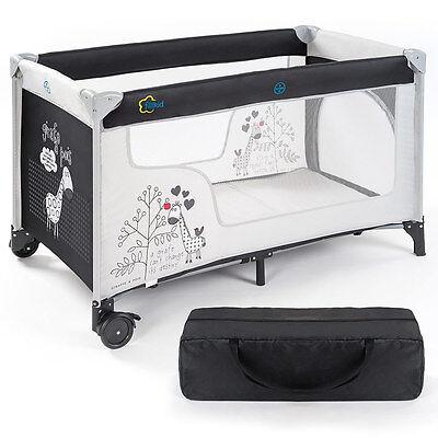 Baby-Reisebett / Kinderreisebett Giraffe (mit Rollen, Matratze, Einstieg) - Grau