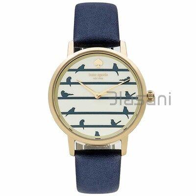 Kate Spade Original KSW1022 Women's Metro Bird on Wire Navy Leather Watch 34mm