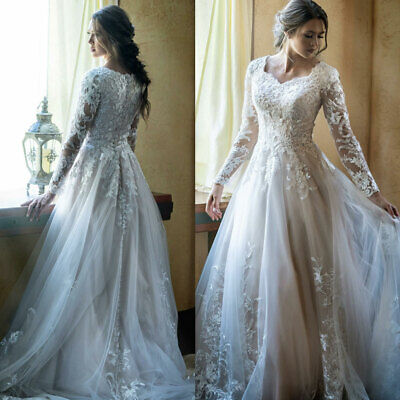 Elegant Wedding Dresses Bridal Gowns Long Sleeves Scallop Neckline Appliques New