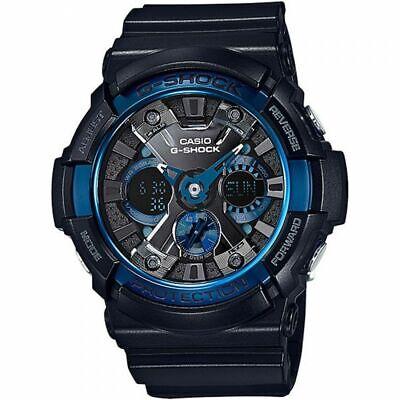 Casio Men's Watch G-Shock Black Strap Ana-Digi Black & Blue Dial GA200CB-1A