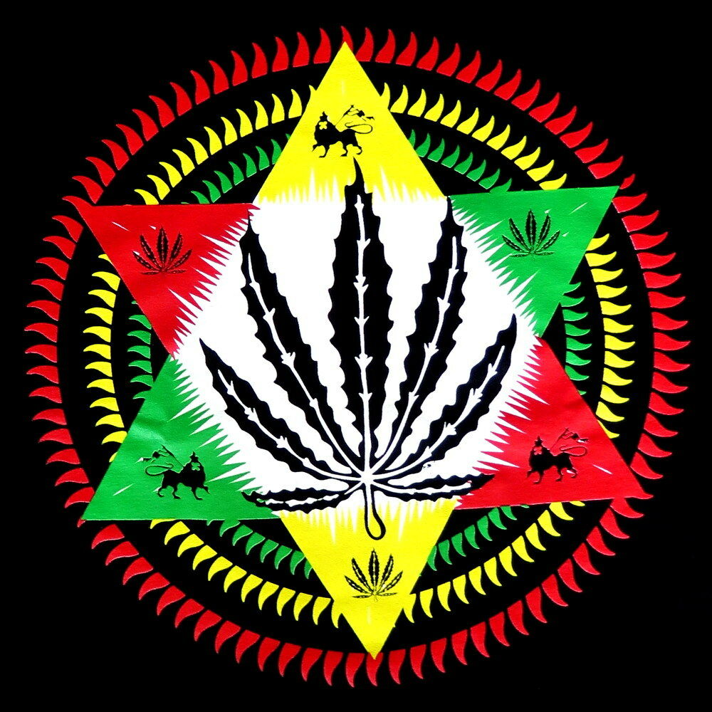 Rasta Zion Lion Star Leaf Reggae Marijuana Weed Mens Black ...