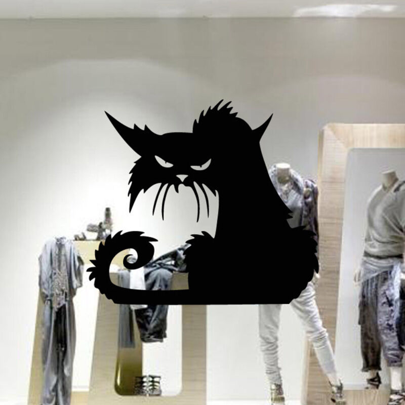 Scary Cat Halloween Wall Window Decal Vinyl Sticker Decor  Horror Scary