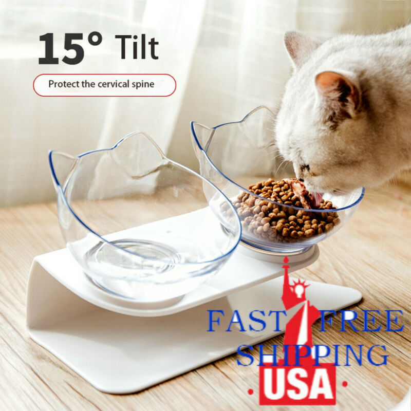 Pet Food Double Bowl Stand Cat Dog Water Feeding Bowl Raised Elevated Angle ^