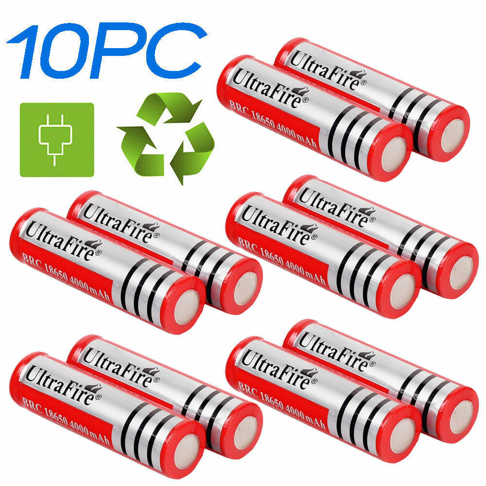 10pc 18650 3.7v 4000mah Rechargeable Li-ion Battery Batteries Cell For Torch USA