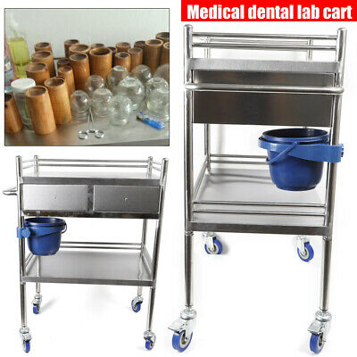 2 Layers Household Utility Carts Stainless Steel Lab Cart Mobile Trolley Serving