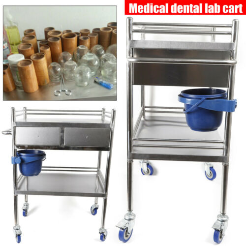 2 Layers Stainless Steel Hospital Medical Dental Lab Trolley Cart & Drawer 2