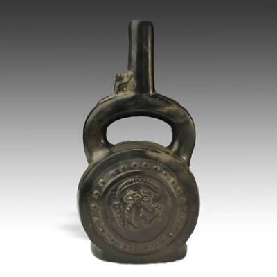 PRE-COLUMBIAN VESSEL MONKEY BLACKWARE CHIMU PERU SOUTH AMERICA 1000 - 1450 AD