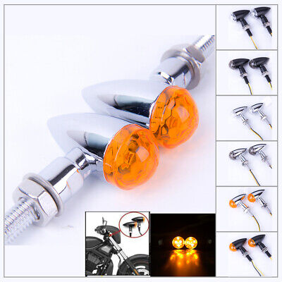 Universal 8mm Chrome Mini Bullet Turn Signal Indicator Blinker Light Amber Lens ()