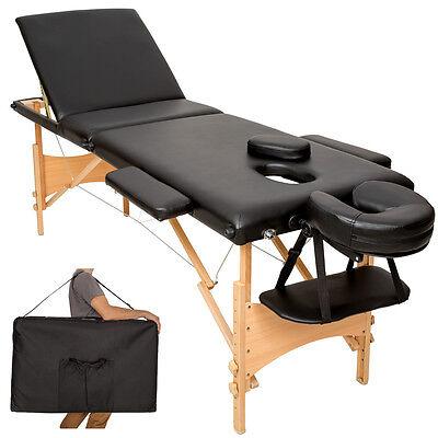 Mobile Massageliege Massagetisch Massagebank 3 Zonen klappbar schwarz + Tasche