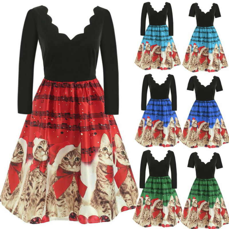 Christmas Women XMAS Dress Musical Notes Cats Flare Dress Evening Party Dresses