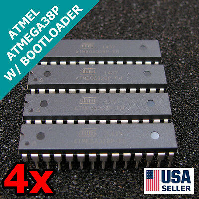 4x New Atmega328p-pu Ic Chip W Arduino Uno Bootloader Usa 4pcs T37