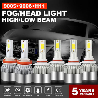 (Combo 9005 + H11 + 9006 3900W 585000LM LED Headlight Kit CREE Hi Low Bulbs 6000K)